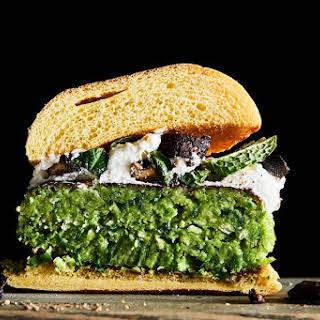 Green Pea Burgers with Ricotta & Crispy Mushrooms.