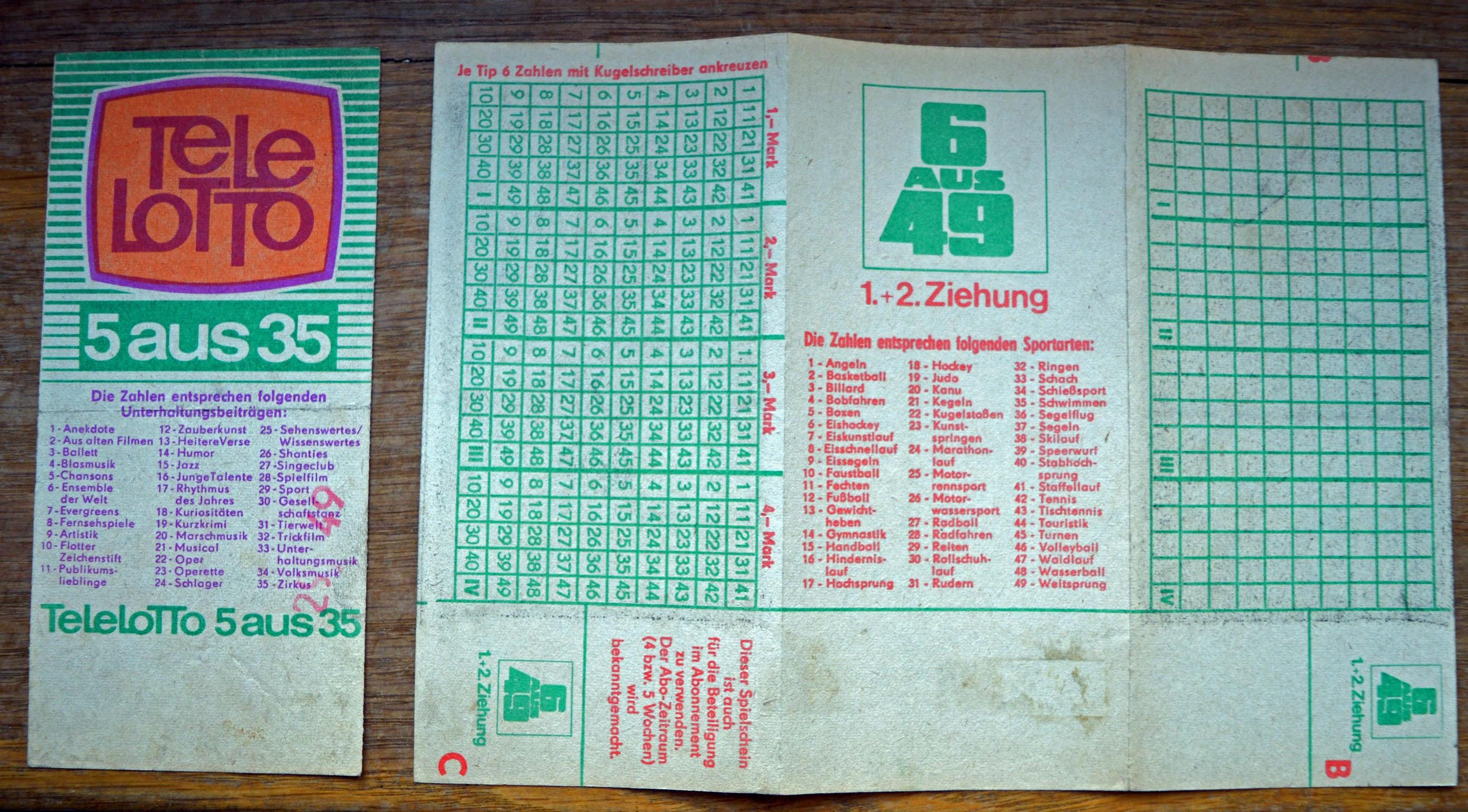 DDR - Lottoscheine Tele Lotto 5 aus 35 und 6 aus 49
