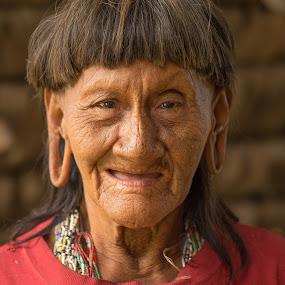 Huaorani Woman by Alan Cline - People Portraits of Women ( ecuador, indigenous, natives, rainforest, amazon )