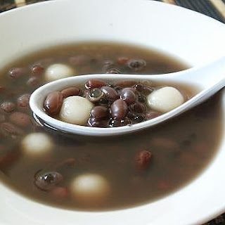Red Bean Soup Dessert with Sago and Glutinous Rice Balls