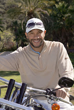 """Photo: Stephen Bishop (""""The Rundown"""") poses on one of Harley Davidson's Hole In One top prize motorcycles at the 2009 Scott Medlock Celebrity Golf Invitational & private rock concert with Robby Krieger (The Doors).  Photo credit: Carla Van Wagoner / Captured Images carlavanwagoner@capturedimagesphotography.net"""