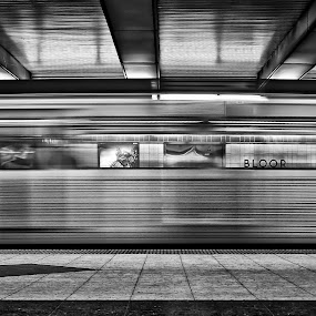 Bloor by Brian Carson - Uncategorized All Uncategorized ( interior, zoom, toronto, commuter, transportation, travel, transit, city, blackandwhite, subway, passage, movement, action, commute, train, motion, commuting, move, platform, moving, canada, station, journey, burst, railway, canadian, lines, underground, fast, rushhour, tunnel, monochrome, tube, vehicle, blur, express, transport, depot, rail, trip, downtown, abstract, rush, ttc, speed, metro, tracks, rapid, black&white, passenger, urban, blurred, route, arrival, public,  )