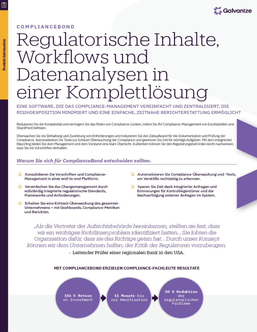 Regulatorische Inhalte, Workflows und Datenanalysen in einer Komplettlösung