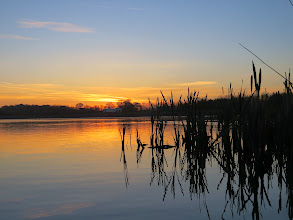 Photo: Priorslee Lake Another sunrise with the sky streaked with trails. (Ed Wilson)
