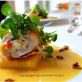 Chicken Ballotine with Goat Cheese and Roast Red Pepper Stuffing , Butternut Veloute and Honey Roasted Walnuts Recipe