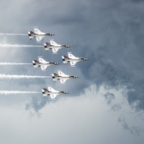 Thunderbirds in Formation by Andrew Brinkman - Transportation Airplanes ( clouds, f-16, air force, jets, usaf, fighter jets, military, thunderbirds )