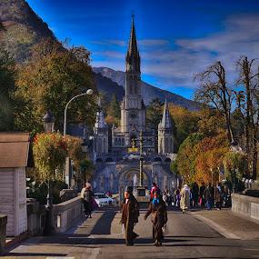 Lourdes City Street by Budiono Tio - City,  Street & Park  Historic Districts ( building, church, architecture, scenic, travel, landscape, city, holiday, catholic, midi-pyrénées, france, lourdes, scenery, pilgrim, st. bernadette, pilgrimage )