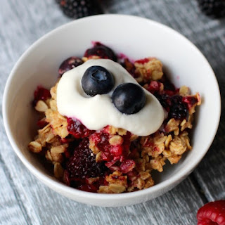 Triple Berry Crisp With Whipped Honey Topping