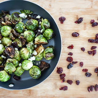 Charred Brussels Sprouts with Balsamic Cranberries and Gorgonzola Recipe