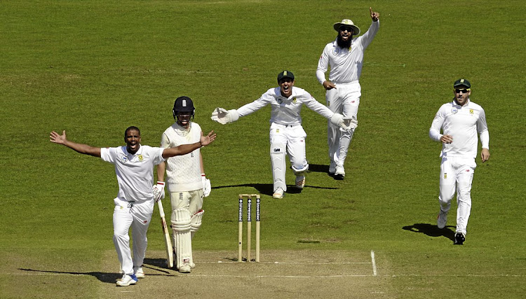 JOU LEKKER DING: Vernon Philander, front, Quinton de Kock, Hashim Amla and Faf du Plessis appeal for the wicket of England batsman Gary Ballance in day four of the second Test match yesterday Picture: GETTY IMAGES