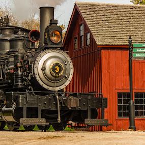 Off we go by Donna Sparks - Transportation Trains ( steam engine, greenfield village, historical,  )