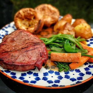 Shorthorn Rump Steak with Yorkshires and Roast Potatoes Recipe