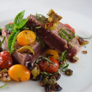 Fresh Ahi Tuna w/Tomato`s Olives & Capers.