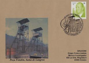 Photo: Matasellos de la Exposición Filatélica de los Humanitarios de Moreda 2001 con los castilletes del pozo Fondón