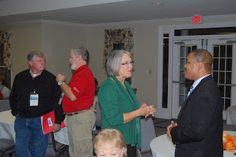 Photo: Rev. Dr. Sharon Watkins talks with Jabari Butler.