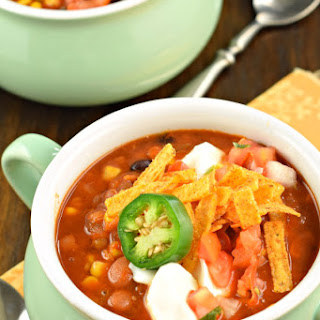Slow Cooker Vegetarian Lentil Tortilla Soup.