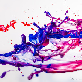 The Collision by Kevin Davis - Abstract Water Drops & Splashes ( collision, 3d, paint, action, red and blue, splash )