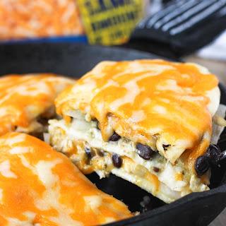 Cheesy Salsa Verde Chicken Tortilla Pie