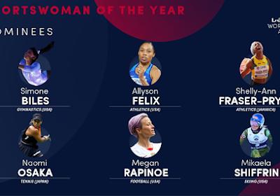 Naomi Osaka is één van de zes vrouwelijke genomineerden voor de 'Oscar van de Sport'