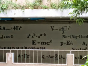 Photo: Formulas painted on the walls in the Engineering Hall.