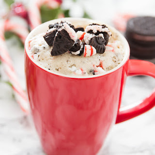 Candy Cane Cookies and Cream Mug Cake.