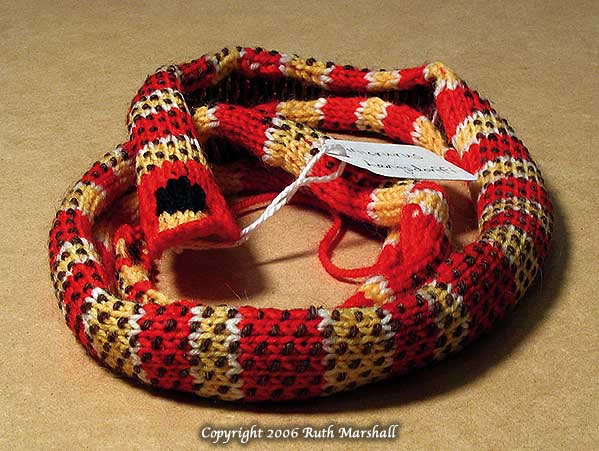Photo: Micrurus Langsdorffi Coral Snake Series 2006 (68 different textiles, 2 ed)   Hand Knit: Yarn, T-pins. (C)Ruth Marshall, 2006.