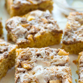 Apple Sour Cream Streusel Coffee Cake with Peanut Butter Glaze
