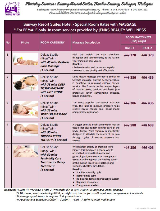 Flexistay Services - RS Hotel Room with Massage