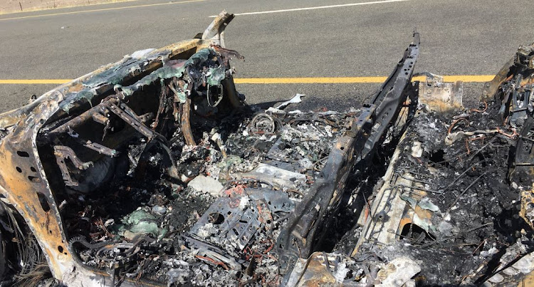 Themba Mabasa three-year-old Audi went up in flames on the side of a Gauteng freeway on Easter Friday.
