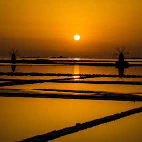 saltlakes by Frans Scherpenisse - Landscapes Sunsets & Sunrises ( mill, orange, marsala, lakes, italy, windmill, sicily, salt )
