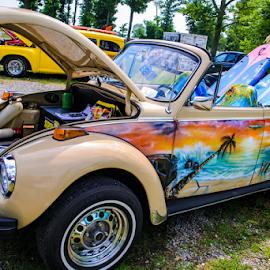by Pam Satterfield Manning - Transportation Automobiles ( automobile, tan, tropical, car, bug, surfers paradise, antique, volkswagen, hood, transportation,  )