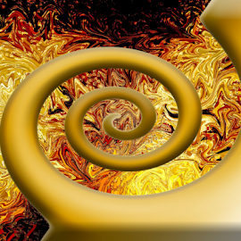 burst of motion by Edward Gold - Digital Art Abstract ( gold, yellow, abstract, burnt red,  )