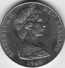 Photo: NZ Dollar coin produced  - front (courtesy of Joseph Jetton, 1967-70, ETN3)