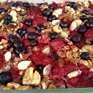 Rasberry and Blueberry Oatmeal Bake.