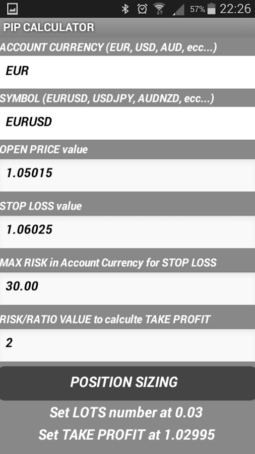 Pips forex calculator