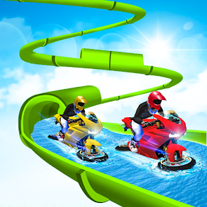 Water Slide Bike Stunt : Tricky Bike Water Race