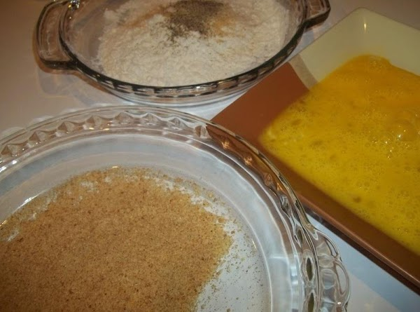 Using 3 different shallow plates. ( I use pie plates ) Add flour to...