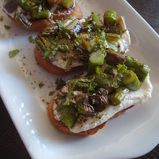 Asparagus Tartine with Ricotta and Mint.