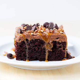 Chocolate Turtle Poke Cake