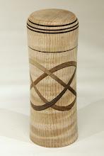 "Photo: Eliot Feldmam 5"" x 2"" lidded Celtic knot box [maple, walnut]"