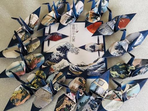 origami grue mont Fuji motif japonais