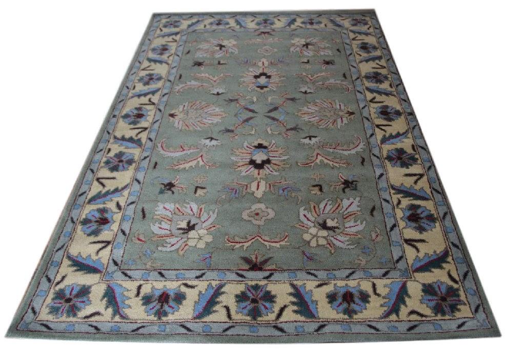 zielony pastelowy dywan persian ziegler wełniany ręcznie tkany 155x245 tradycyjny kwiatowy