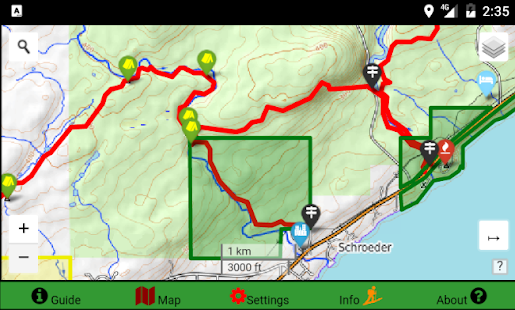 Superior Hiking Trail Data Map - Offline GPS Guide - náhled