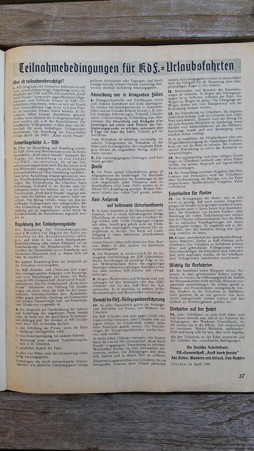 """Die Deutsche Arbeitsfront - Urlaubsfahrten 1939 - NS-Gemeinschaft """"Kraft durch Freude"""" Gau Sachsen - Katalog - KdF"""