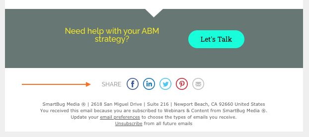social share icons in email