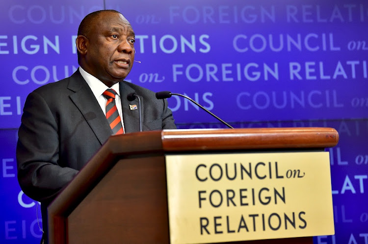 President Cyril Ramaphosa addressing the Council on Foreign Relations meeting at the Council offices in New York. Picture: GCIS/Elmond Jiyane