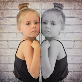 On the other side by Love Time - Digital Art People ( colour, child, girls, black and white, twins, wall,  )