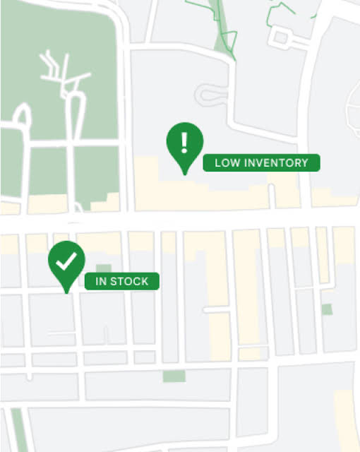 """Store inventory shown on a map with """"in stock"""" and """"low inventory"""" pins"""