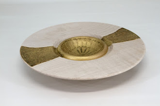 "Photo: Tim Aley [8 1/2"" x 1 1/2""] bowl [maple, pyrography, acrylic paint]"