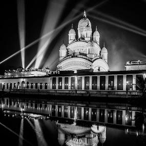 Reflection by Shibasish Saha - Buildings & Architecture Places of Worship ( nightlight, reflection, black and white, architecture, worship,  )